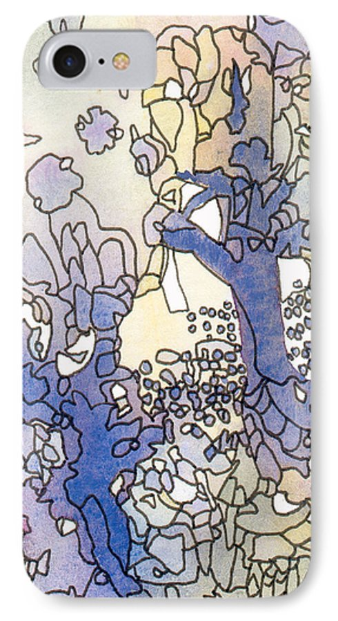 Abstract IPhone 7 Case featuring the painting Dancing Trees II by Christina Rahm Galanis