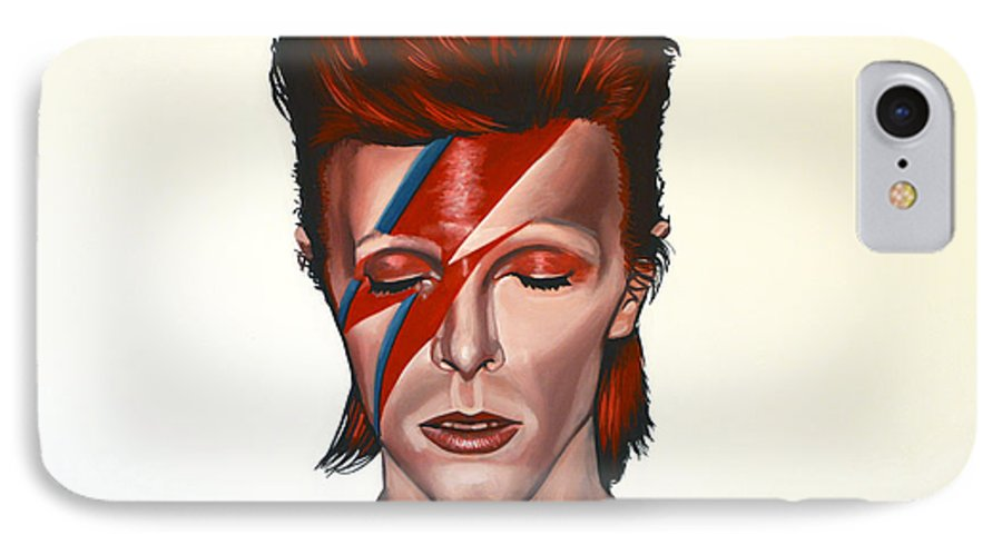David Bowie IPhone 7 Case featuring the painting David Bowie Aladdin Sane by Paul Meijering