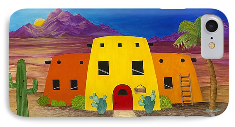 Whimsicle Desert Inn Has Vacancy IPhone 7 Case featuring the painting Desert Oasis by Carol Sabo