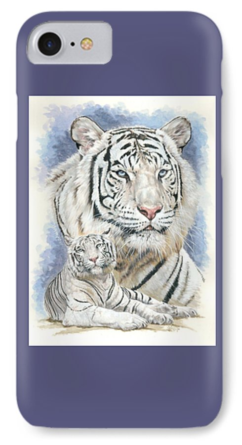 Big Cat IPhone 7 Case featuring the mixed media Dignity by Barbara Keith