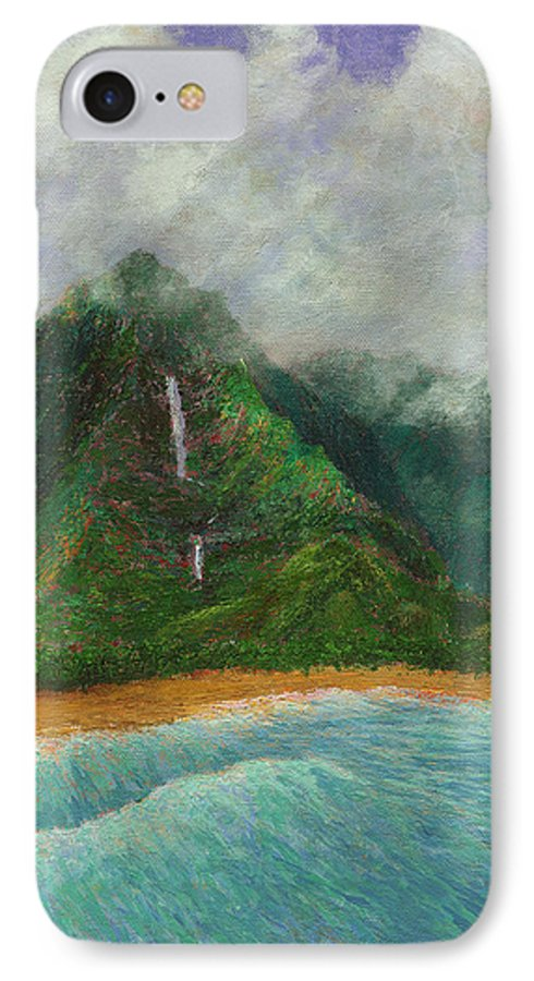 Coastal Decor IPhone 7 Case featuring the painting Distant Falls by Kenneth Grzesik