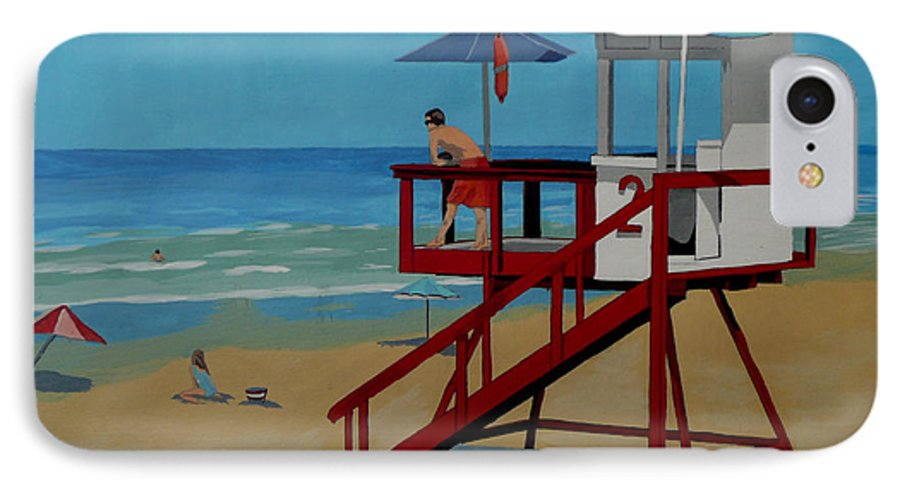 Lifeguard IPhone 7 Case featuring the painting Distracted Lifeguard by Anthony Dunphy
