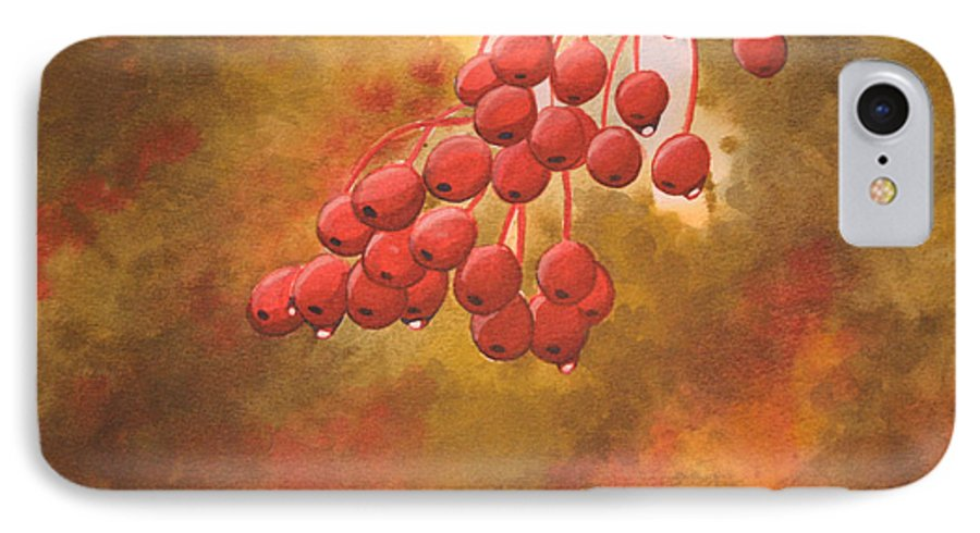 Rick Huotari IPhone 7 Case featuring the painting Door County Cherries by Rick Huotari