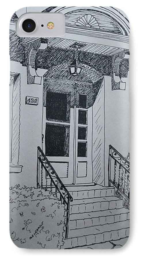 Pen And Ink IPhone 7 Case featuring the drawing Doorway by Mary Ellen Mueller Legault