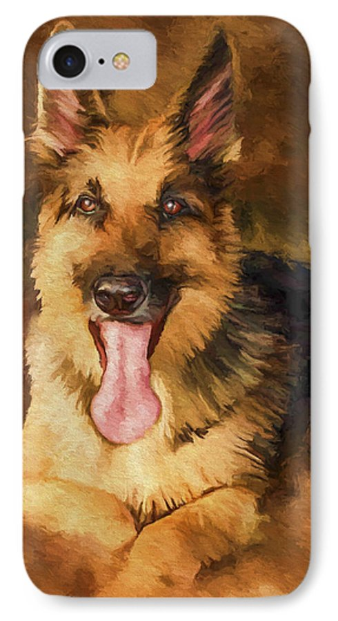 German Shepherd IPhone 7 Case featuring the painting Duke by David Wagner