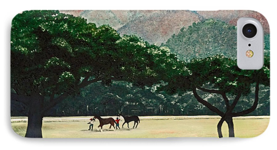 Trees IPhone 7 Case featuring the painting Early Morning Savannah by Karin Dawn Kelshall- Best