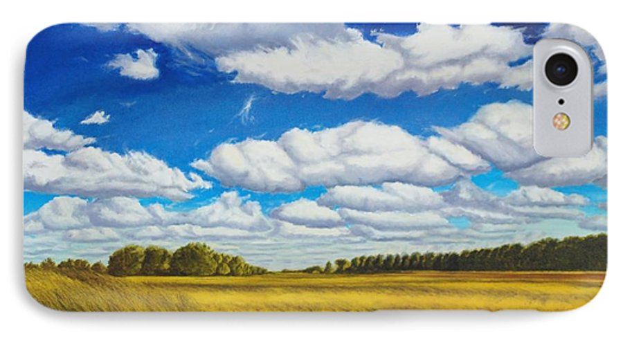Wheat IPhone 7 Case featuring the painting Early Summer Clouds by Leonard Heid