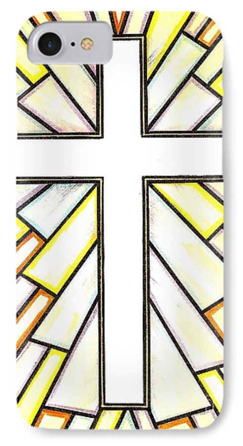 Cross IPhone 7 Case featuring the painting Easter Cross 3 by Jim Harris