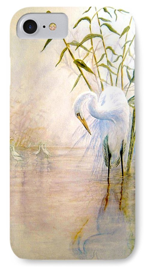 Eret; Bird; Low Country IPhone 7 Case featuring the painting Egret by Ben Kiger