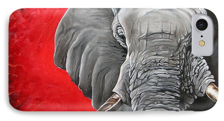 Wildlife IPhone 7 Case featuring the painting Elephant by Ilse Kleyn