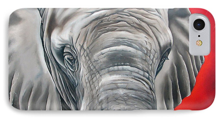 Elephant IPhone 7 Case featuring the painting Elephant Six Of Eight by Ilse Kleyn