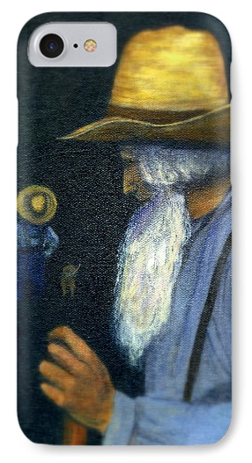 Men IPhone 7 Case featuring the painting Eli Remembers by Gail Kirtz