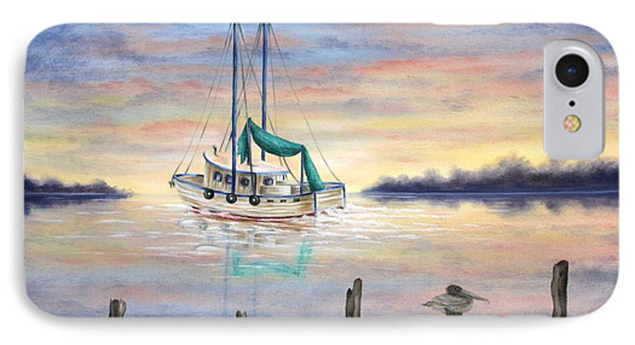 Seascape IPhone 7 Case featuring the painting End Of The Day by Ruth Bares