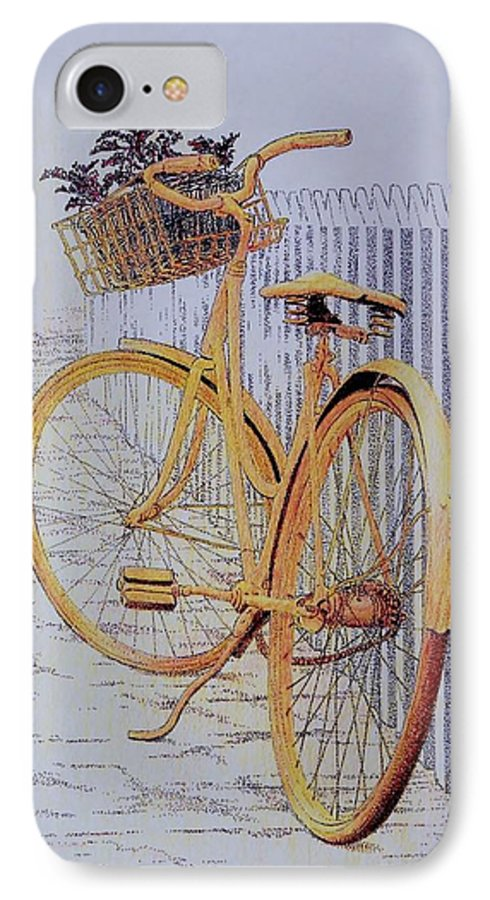Bicycle Yellow Summer Flowers Plants IPhone 7 Case featuring the painting Endless Summer by Tony Ruggiero