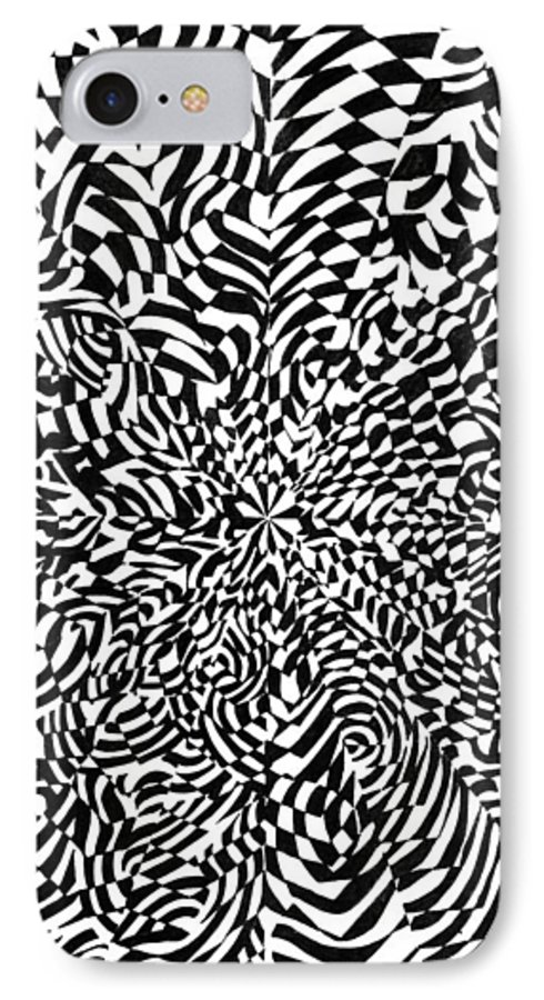 Abstract IPhone 7 Case featuring the drawing Entangle by Crystal Hubbard