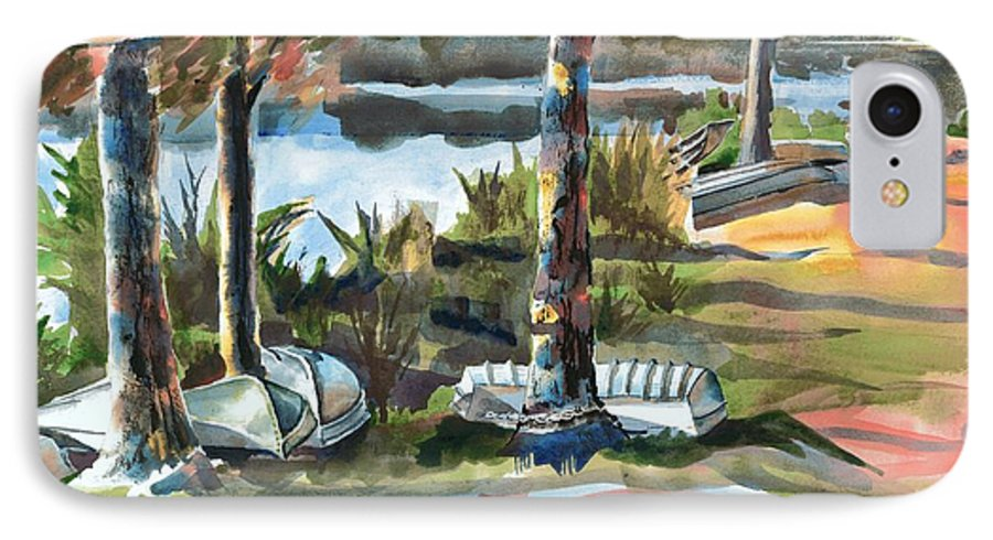 Evening Shadows At Shepherd Mountain Lake No W101 IPhone 7 Case featuring the painting Evening Shadows At Shepherd Mountain Lake No W101 by Kip DeVore