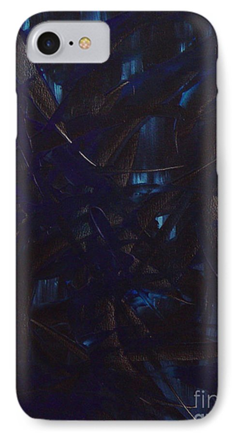Abstract IPhone 7 Case featuring the painting Expectations Blue by Dean Triolo