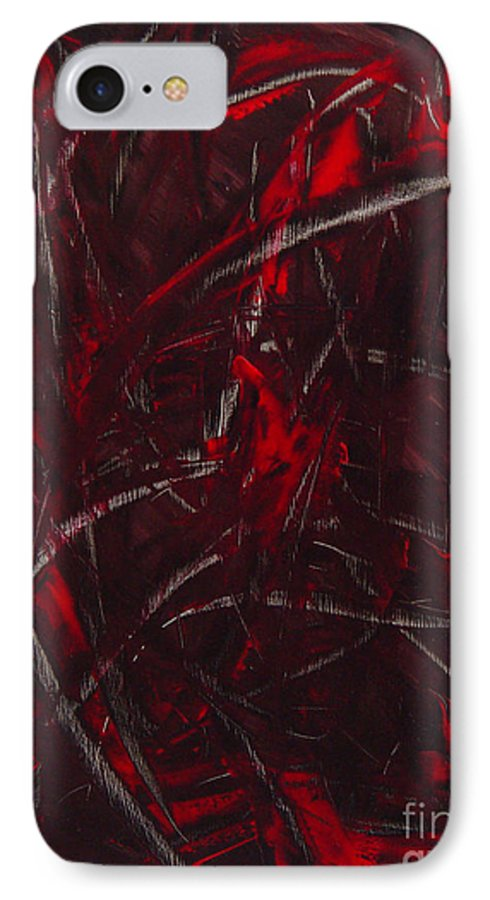 Abstract IPhone 7 Case featuring the painting Expectations Red by Dean Triolo