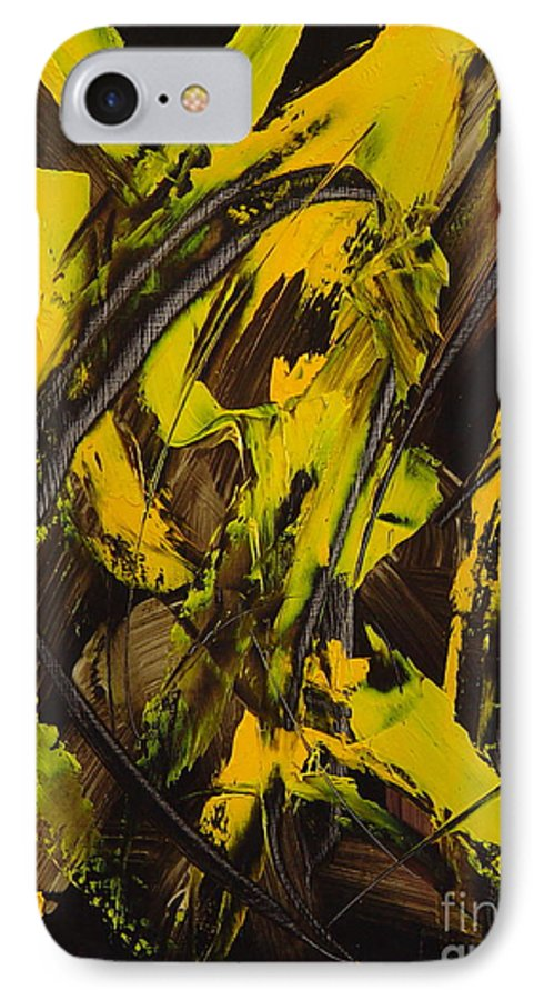 Abstract IPhone 7 Case featuring the painting Expectations Yellow by Dean Triolo