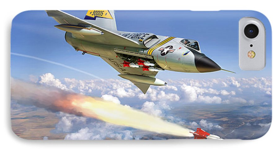 Aviation IPhone 7 Case featuring the painting F-106 Delta Dart 5th Fis by Mark Karvon