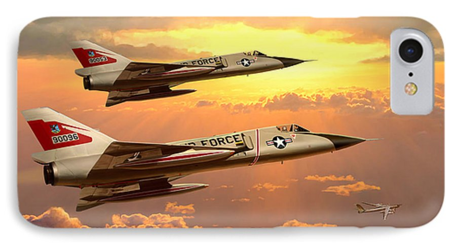 Aviation IPhone 7 Case featuring the painting F-106 Delta Dart Intercept by Mark Karvon