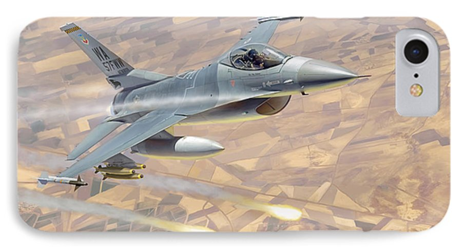 Aviation IPhone 7 Case featuring the painting F-16 Fighting Falcon by Mark Karvon