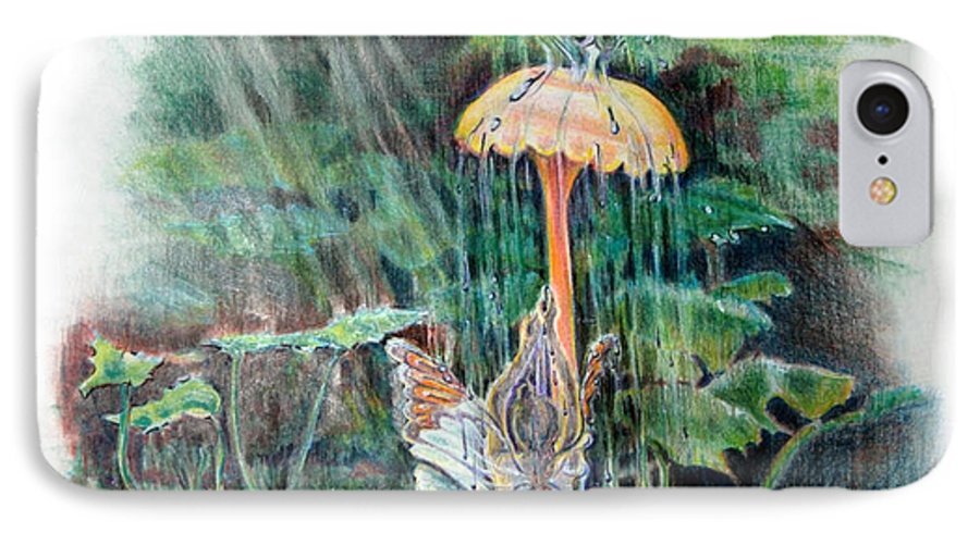 Fairy IPhone 7 Case featuring the drawing Fairy Shower by Susan Moore