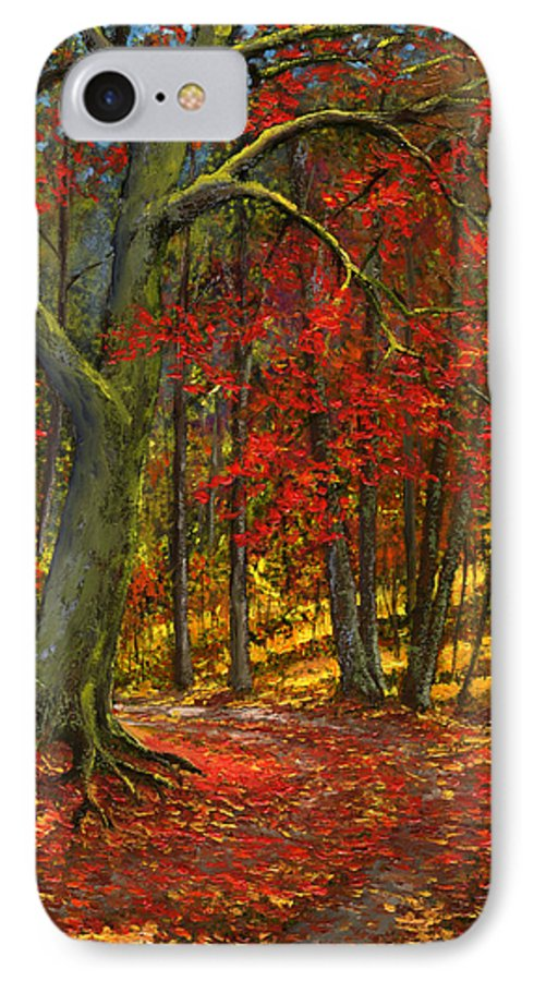 Landscape IPhone 7 Case featuring the painting Fallen Leaves by Frank Wilson