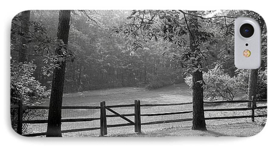 Black & White IPhone 7 Case featuring the photograph Fence by Tony Cordoza