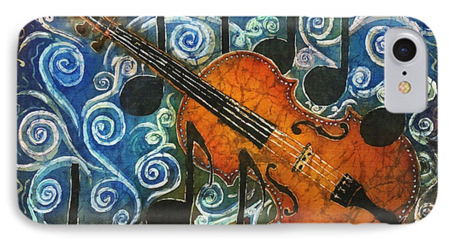 Fiddle IPhone 7 Case featuring the painting Fiddle 1 by Sue Duda