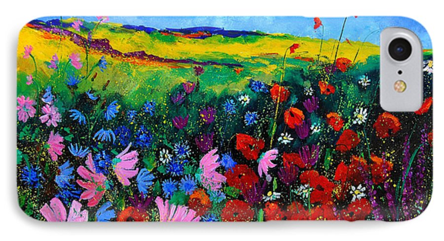 Poppies IPhone 7 Case featuring the painting Field Flowers by Pol Ledent