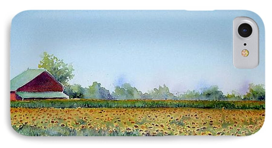 Landscape IPhone 7 Case featuring the painting Field Of Sunshine by Patricia Henderson