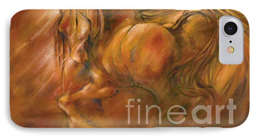 Horse IPhone 7 Case featuring the painting Fire by Wendy Froshay