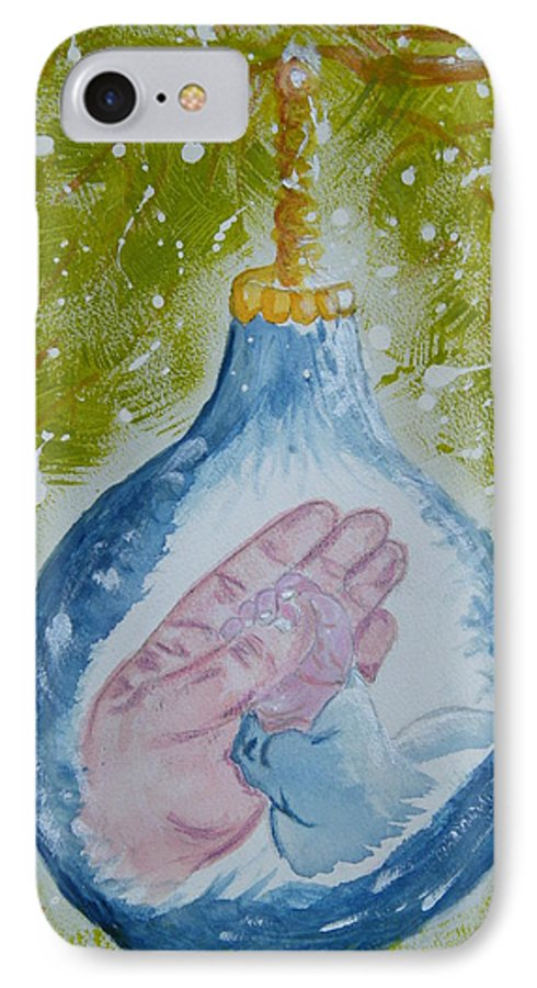 Christmas IPhone 7 Case featuring the painting First Christmas II by Margaret G Calenda