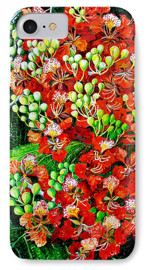 Royal Poincianna Painting Flamboyant Painting Tree Painting Botanical Tree Painting Flower Painting Floral Painting Bloom Flower Red Tree Tropical Paintinggreeting Card Painting IPhone 7 Case featuring the painting Flamboyant In Bloom by Karin Dawn Kelshall- Best