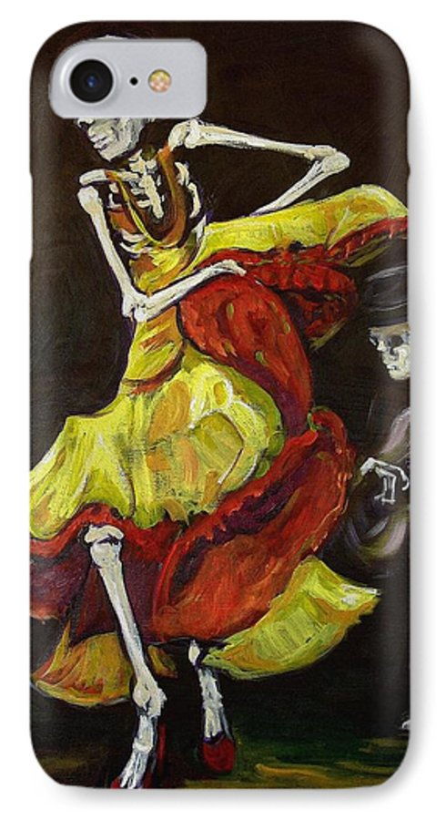 Muertos IPhone 7 Case featuring the painting Flamenco Vi by Sharon Sieben