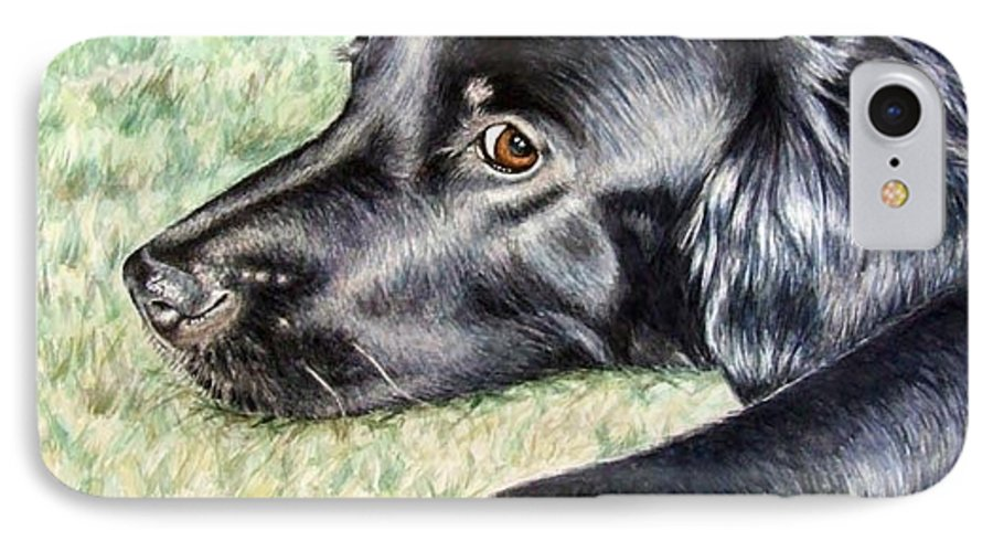 Dog IPhone 7 Case featuring the painting Flat Coated Retriever by Nicole Zeug