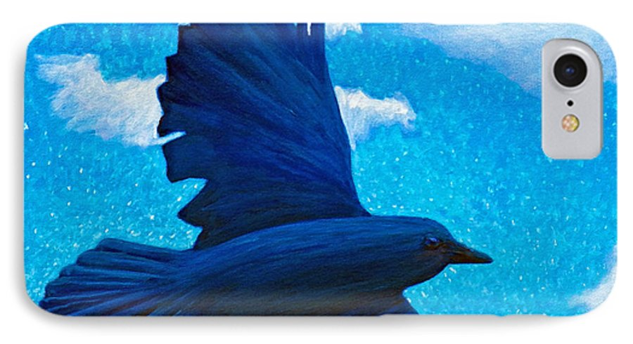 Raven IPhone 7 Case featuring the painting Flight by Brian Commerford
