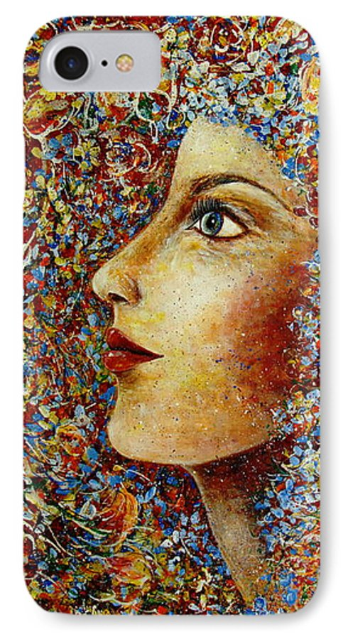 Flower Goddess IPhone 7 Case featuring the painting Flower Goddess. by Natalie Holland