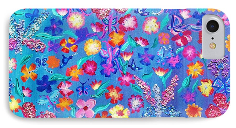 Floral IPhone 7 Case featuring the painting Flowers And Butterflies by J Andrel