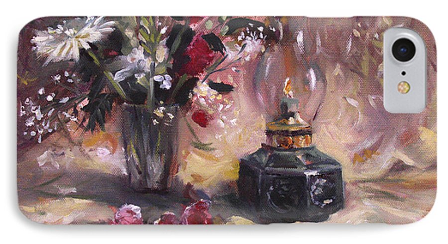 Flowers IPhone 7 Case featuring the painting Flowers With Lantern by Nancy Griswold