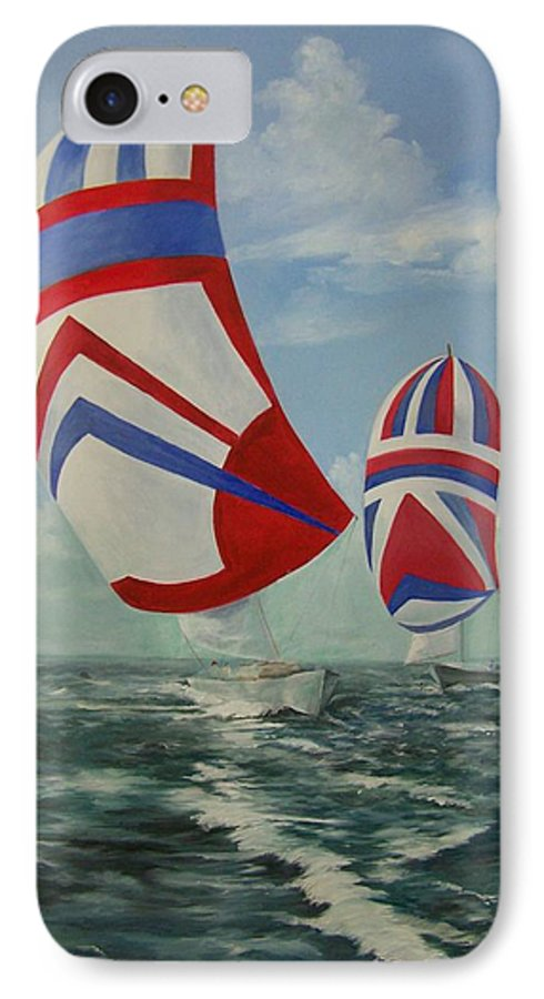 Sailing Ships IPhone 7 Case featuring the painting Flying The Colors by Wanda Dansereau