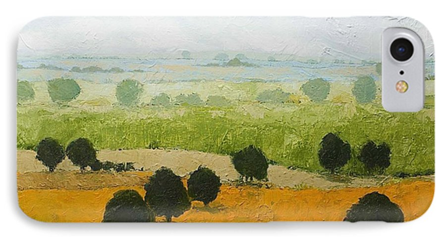 Landscape IPhone 7 Case featuring the painting Fog Lifting Fast by Allan P Friedlander