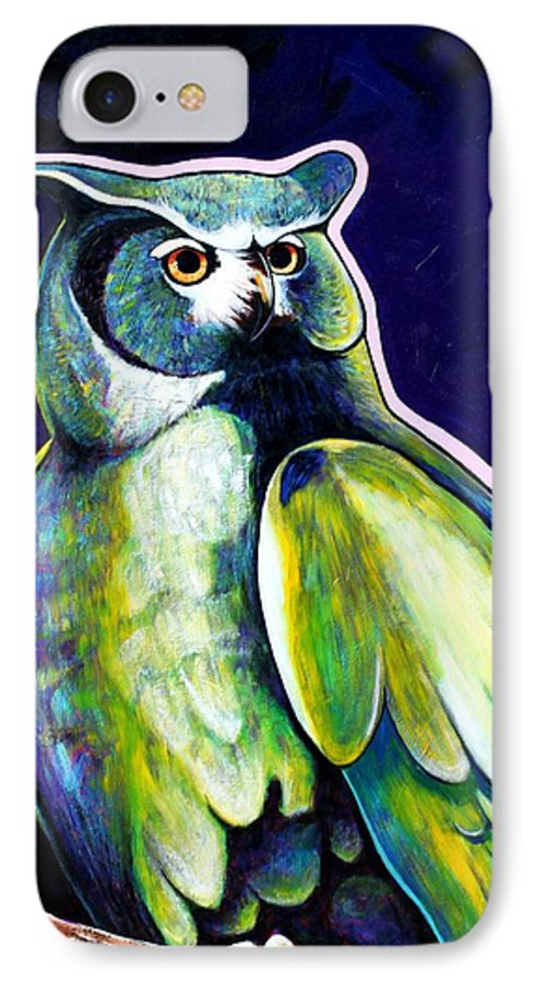 Owl IPhone 7 Case featuring the painting From The Shadows by Joe Triano
