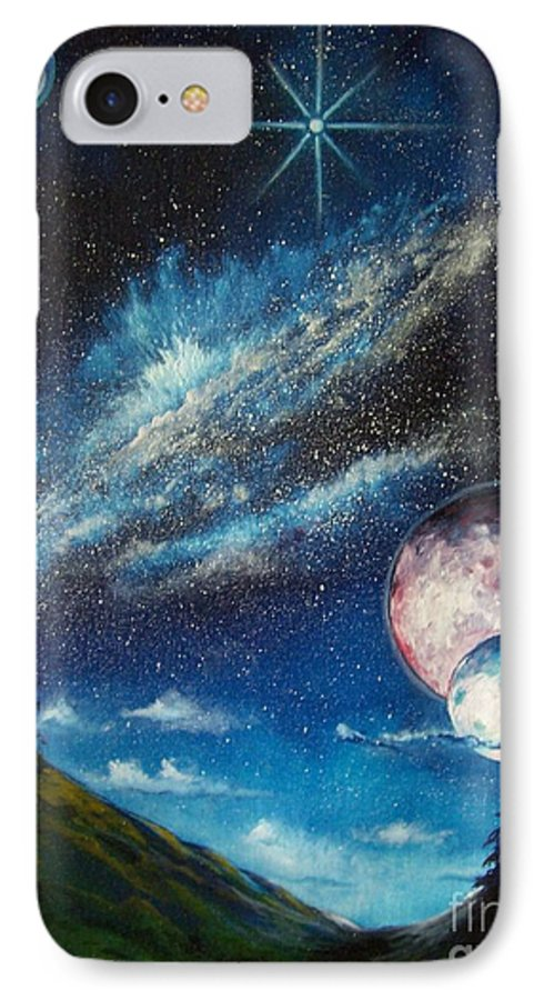 Space Horizon IPhone 7 Case featuring the painting Galatic Horizon by Murphy Elliott