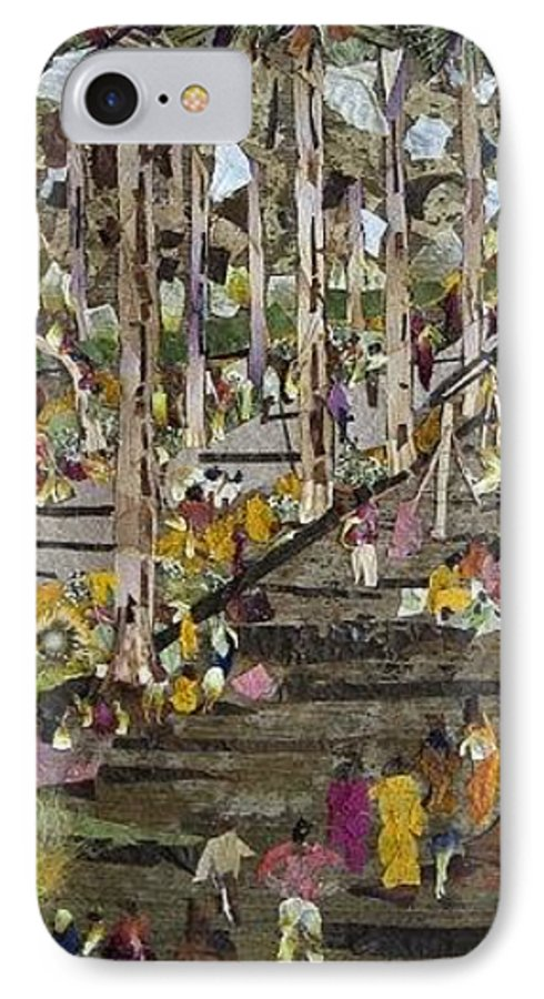 Garden Morning View IPhone 7 Case featuring the mixed media Garden Picnic by Basant Soni
