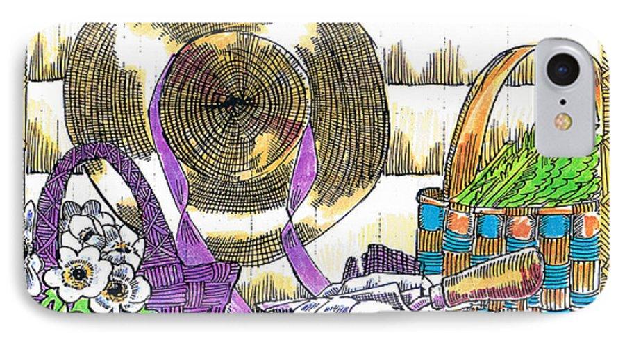 Gardener's Basket IPhone 7 Case featuring the drawing Gardener's Basket by Seth Weaver