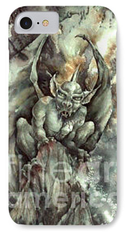 Gargoyle IPhone 7 Case featuring the painting Gargoyle by Wendy Froshay