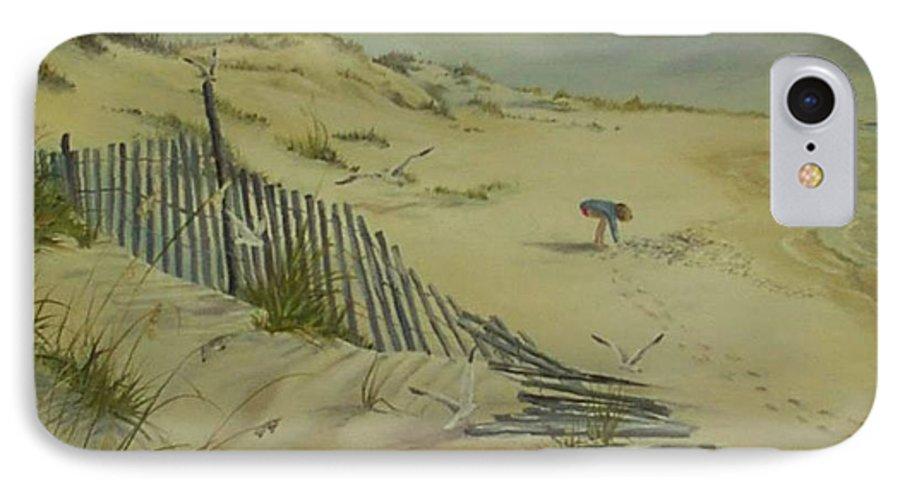 Seascape IPhone 7 Case featuring the painting Gathering Seashells by Wanda Dansereau