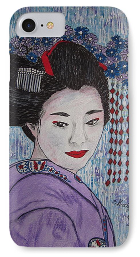 Oriental IPhone 7 Case featuring the painting Geisha Girl by Kathy Marrs Chandler